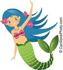 blå, cute, haired, karakter, illustration, style., vektor, undine., cartoon, havfrue