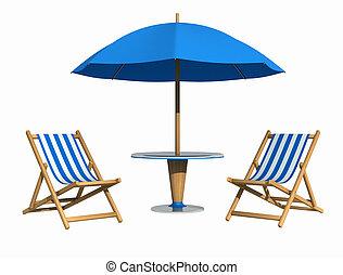 blå, däcksstol, parasoll
