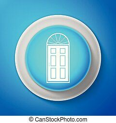 blå dörr, isolerat, illustration, button., bakgrund., vektor, stängd, cirkel, ikon