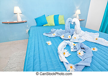 blå, daisies., sovrum, planlagt, beautifully