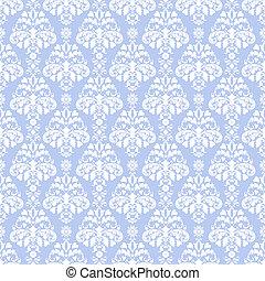 blå, &, damast, vit