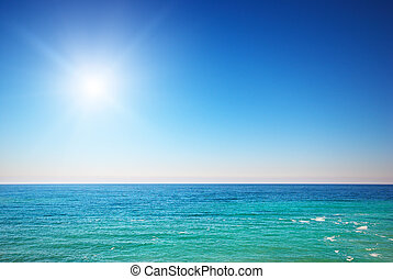 blå, deeb, hav