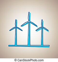 blå, defected, himmel, tegn., turbiner, baggrund., beige, vector., kontur, vind, ikon