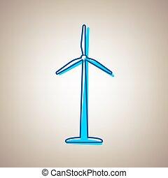 blå, defected, tegn., himmel, eller, baggrund., beige, vector., logo, turbine, kontur, vind, ikon