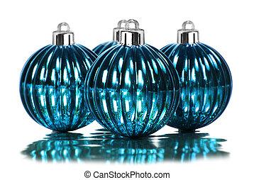 blå, dekoration, vit, struntsak, jul