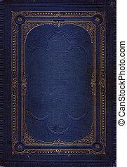 blå, dekorativ, gammal, guld, läder, ram, struktur