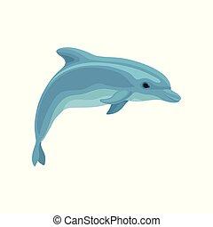 blå, delfin, illustration, vektor, bakgrund, vit