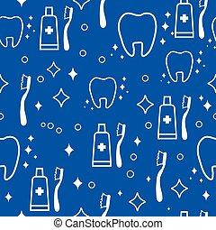 blå, dental, pattern., seamless, vektor, bakgrund, tänder, vit