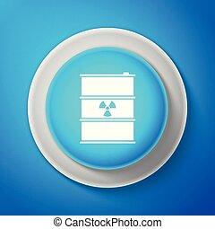 blå, disaster., affaldet, forurening, affald, fare, keg., isoleret, illustration, baggrund., udstrålinger, vektor, økologiske, toksisk, radioaktive, hvid, affald, tønde, miljøbestemte, ikon