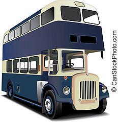 blå, dobbel decker bus