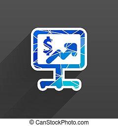 blå, dollar, glatt, bakgrund, vit, ikon