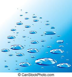 blå, droppar, droppar