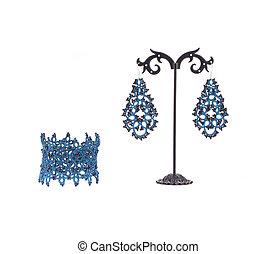 blå, earrings., armband