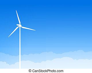 blå, eco, turbine, himmel, vind
