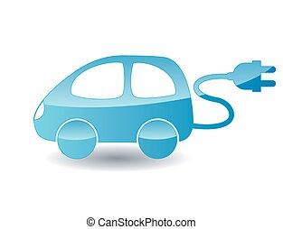 blå, elektrisk vogn