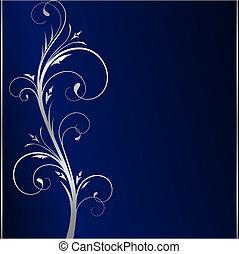 blå, elementara, mörk, elegant, bakgrund, blommig, silver