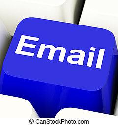 blå, emailing, email, dator facit, eller, kontakta