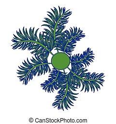 blå, emblem, bladen, fodrar, isolerat, runda, ram