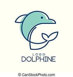blå, emblem, dolphine, abstrakt, delfin, illustration, färger, vektor, bakgrund, logo, vit, design