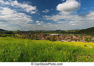 blå, eng, hen, himmel, frisk, grønne, landsby, lille, tyskland, udsigter