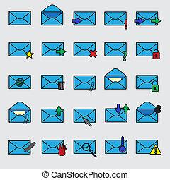 blå, eps10, iconerne, enkel, computer, post