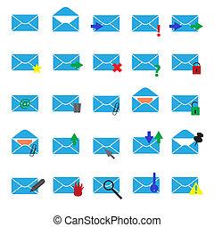 blå, eps10, iconerne, enkel, lys, computer, post
