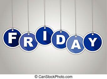 blå, etikett, fredag