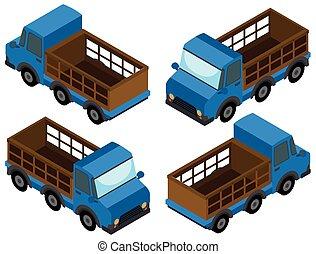 blå, färg, lastbil, uppe, hacka