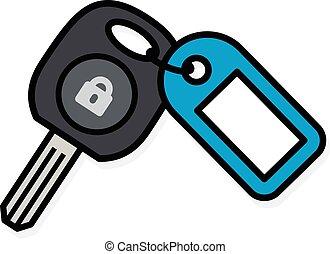 blå, färgrik, bil, plastisk, etikett, nyckel