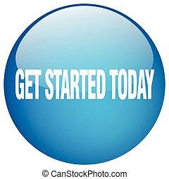 blå, få, started, knapp, isolerat, trycka, runda, i dag, gel