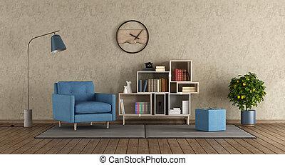 blå, fåtölj, vardagsrum, nymodig