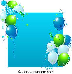 blå, födelsedag kort