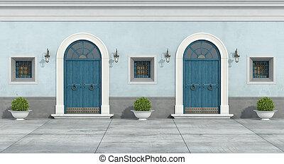 blå, facade, gamle