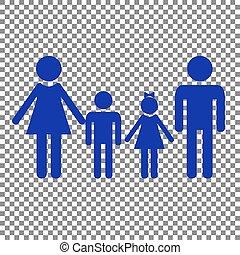blå, familie, tegn., baggrund., transparent, ikon