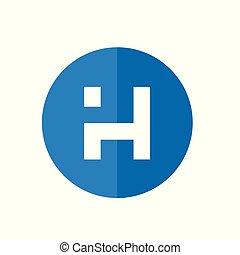 blå, farve, alfabet, illustration, vektor, brev, digitale, cirkel, h, konstruktion, logo, ikon