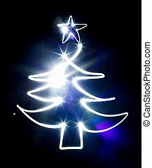 blå, ficklampa, gjord, träd, svart, jul