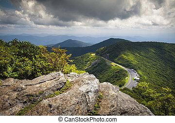 blå fjäll, ås, scenisk, fotografi, nc, asheville, västra, klippig, norr, parkway, trädgårdar, landskap, carolina