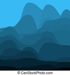 blå fjäll, in, den, fog.