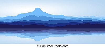 blå fjäll, med, insjö, -, panorama