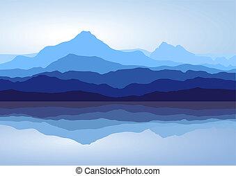 blå fjäll, nära, insjö