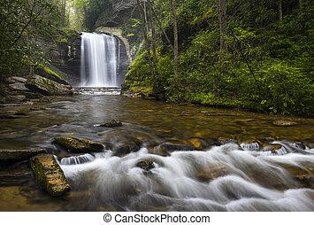 blå fjäll, norr, appalachian, nc, nedgångar, titta glas, brevard, västra, vattenfall, ås, parkway, carolina
