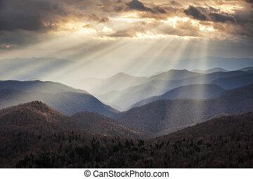 blå fjäll, skymnings, stråle, ås, scenisk, appalachian, resa...
