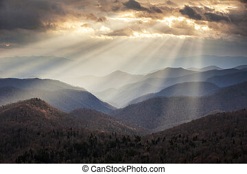 blå fjäll, skymnings, stråle, ås, scenisk, appalachian, resa, nc, destination, västra, åsar, lätt, norr, parkway, carolina