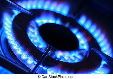 blå flamma, gas.