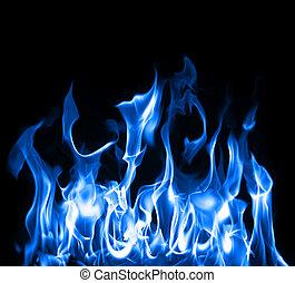blå, flammor