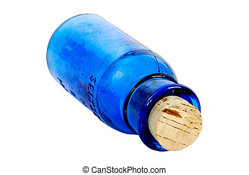 blå, flaske