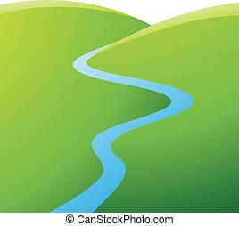 blå, flod, grönt kulle