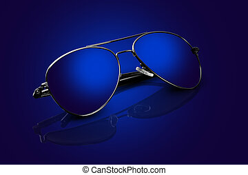 blå, flygare, solglasögon, med, funderingar