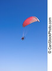 blå, flykt, drivit, sky, paraglider, bakgrund, pilot