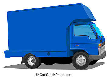 blå, flyttkarl, lastbil